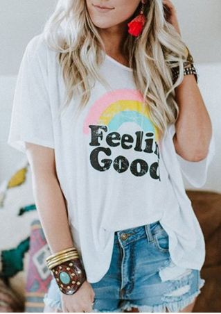 Feelin' Good Rainbow Short Sleeve T-Shirt