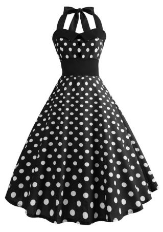 Polka Dot Splicing Halter Vintage Casual Dress