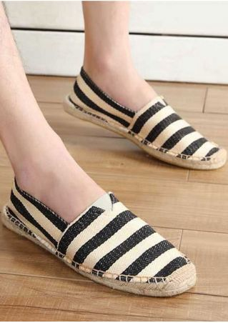 Striped Flat Round Toe Flats