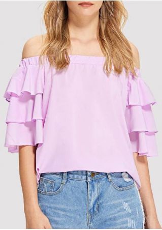 Solid Off Shoulder Layered Blouse