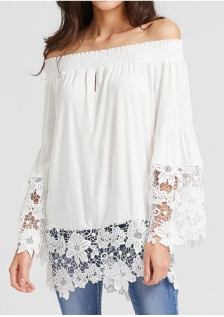 Solid Lace Floral Off Shoulder Blouse