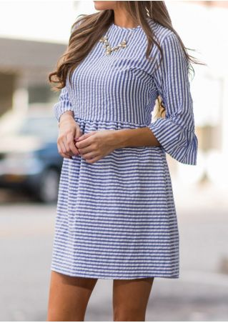 Striped O-Neck Mini Dress without Necklace