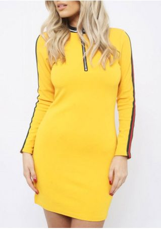 Striped Zipper Long Sleeve Bodycon Dress
