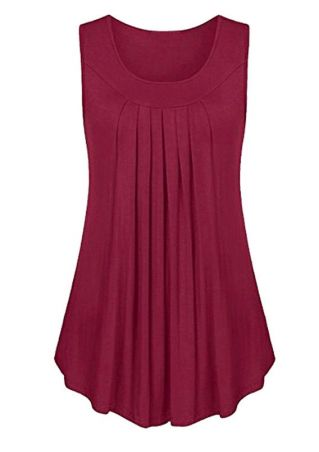 Solid Ruffled O-Neck Tank