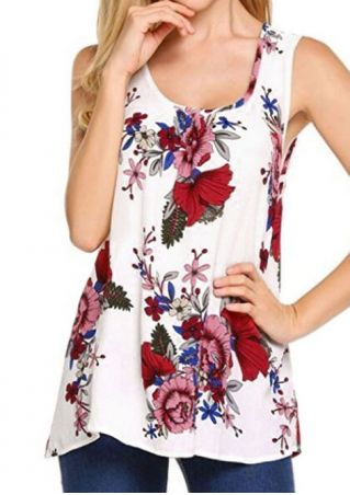 Floral Printed O-Neck Tank