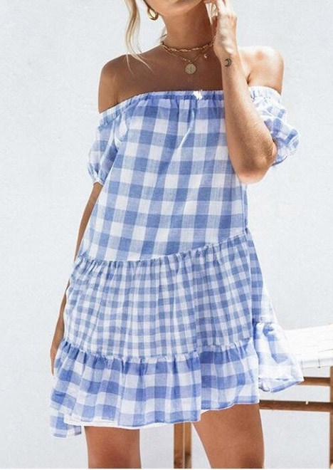 Plaid Ruffled Off Shoulder Mini Dress without Necklace 47656