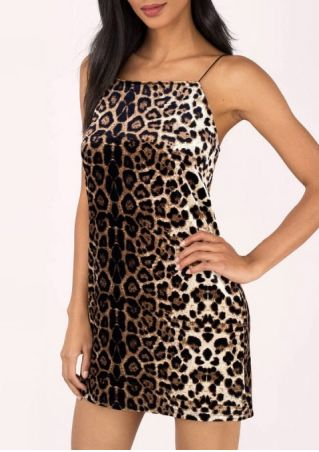 Leopard Printed Spaghetti Strap Backless Mini Dress