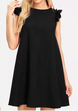 Solid Ruffled O-Neck Mini Dress