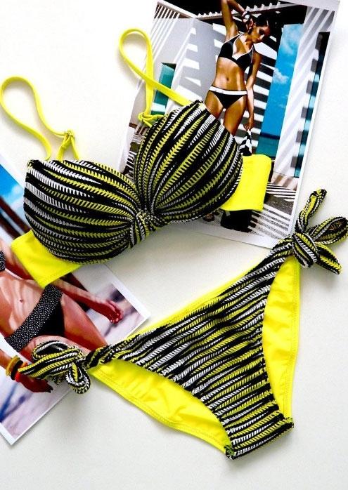 Striped Adjustable Strap Sexy Bikini Set