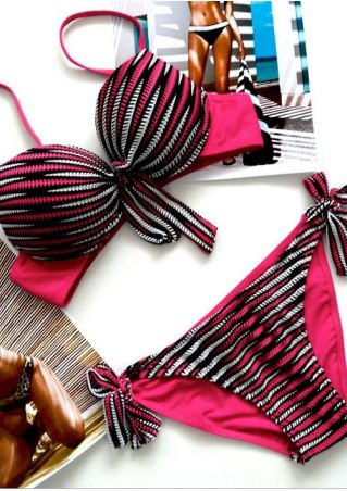 Striped Adjustable Strap Sexy Bikini Set