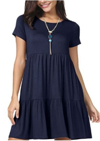 Solid O-Neck Ruffled Mini Dress without Necklace