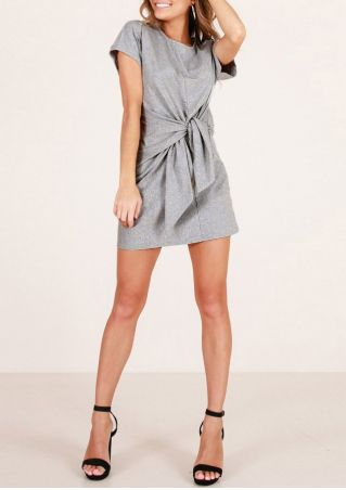 Solid Tie Short Sleeve Mini Dress