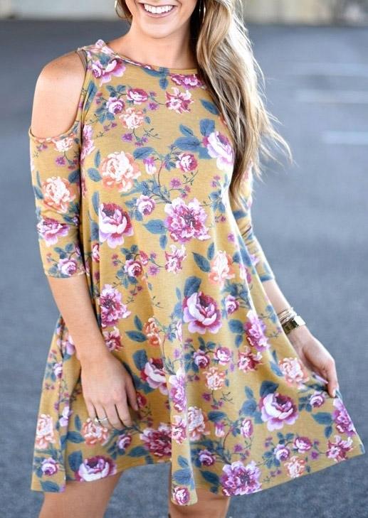 Floral Cold Shoulder Mini Dress 47671