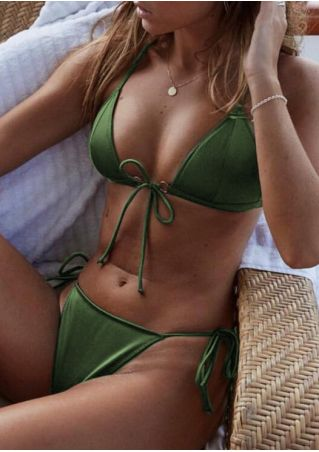 Solid Tie Sexy Bikini Set without Necklace