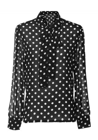 Polka Dot Tie Long Sleeve Blouse