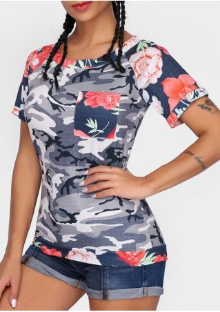 Camouflage Printed Floral O-Neck T-Shirt