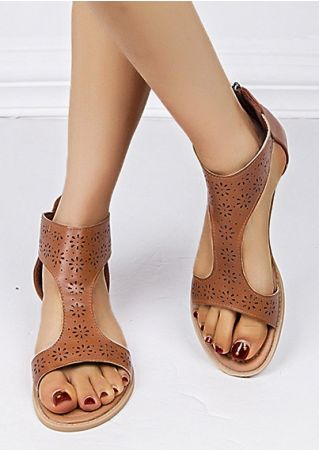 Solid Hollow Out Zipper Sandals