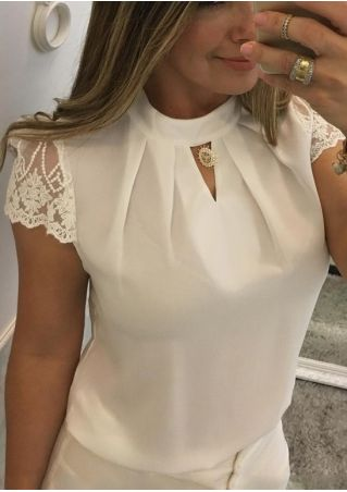 Solid Lace Floral Ruched Hole Blouse without Necklace