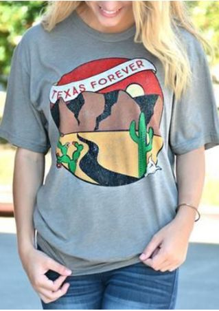 Texas Forever Cactus O-Neck T-Shirt