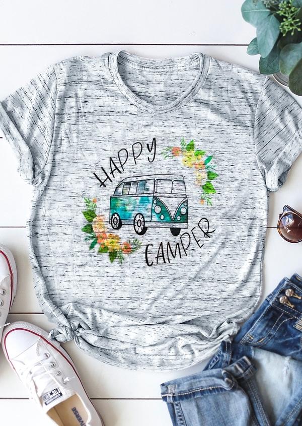 Happy Camper Floral O-Neck T-Shirt