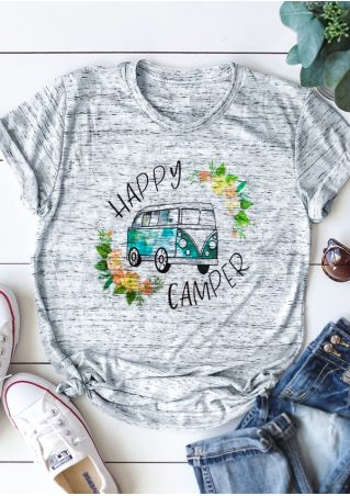Happy Camper Floral O-Neck T-Shirt