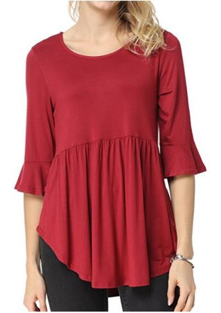 Solid Ruffled O-Neck Blouse