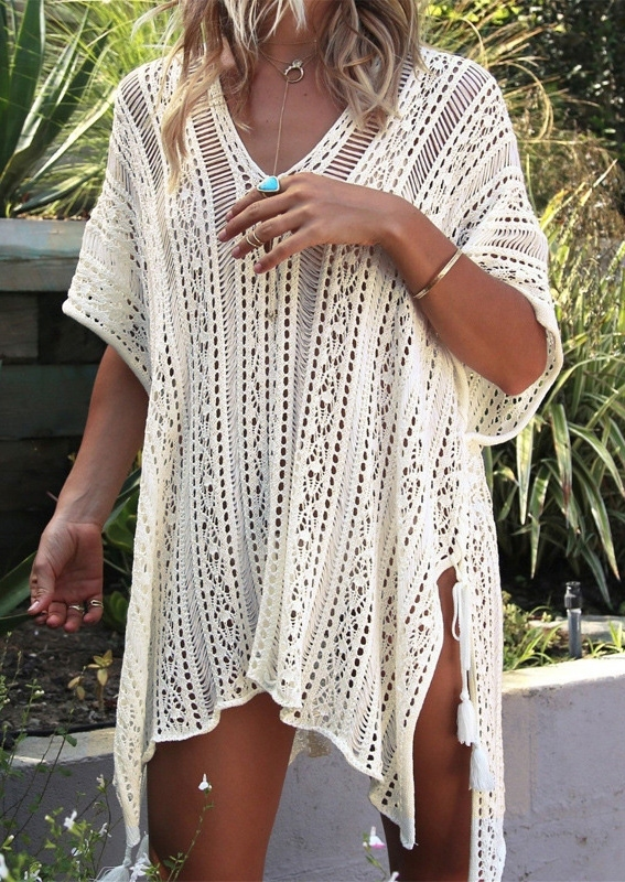 Solid Hollow Out Tassel Slit Cover Up without Necklace - White фото