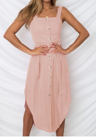 Solid Button Asymmetric Casual Dress