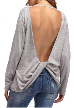 Solid Backless Long Sleeve Blouse