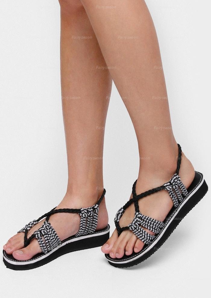 Sandals Summer Braid Flat Sandals in Black,White. Size: 37,38,39,40
