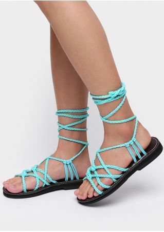 Solid Braid Lace Up Flat Sandals