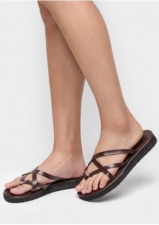 Solid Cross-Tied Flip Flops