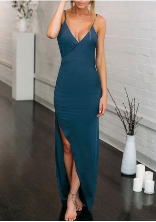 Solid Wrap Maxi Dress without Necklace