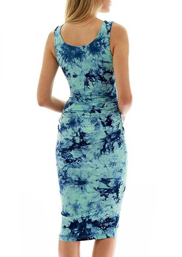 Tie Dye Sleeveless Bodycon Dress Fairyseason
