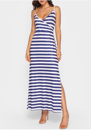 Striped Wrap V-Neck Slit Maxi Dress