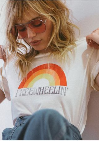 Freewheelin' Rainbow O-Neck Casual T-Shirt
