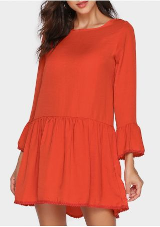 Solid Flare Sleeve Ruffled Mini Dress without Necklace