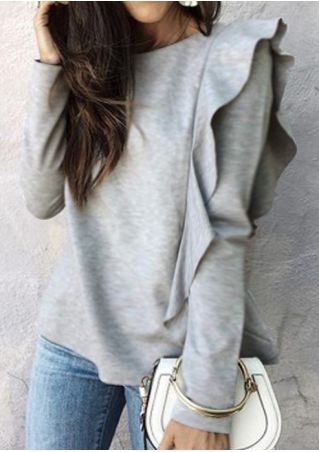Solid Ruffled Long Sleeve Sweatshirt