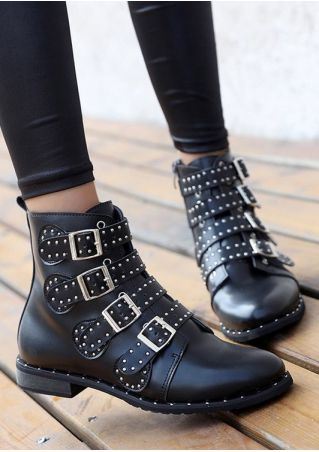 Buckle Strap Rivet Fashion Boots