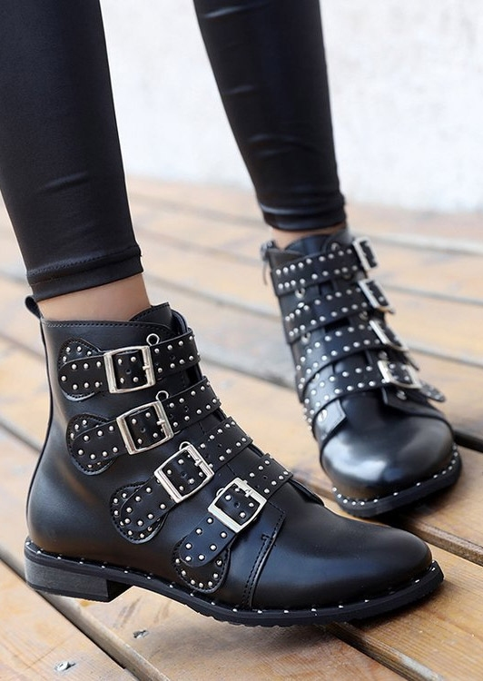 Image of Buckle Strap Rivet Fashion Boots