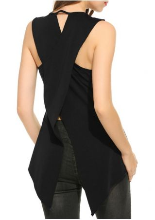 Solid Wrap O-Neck Tank