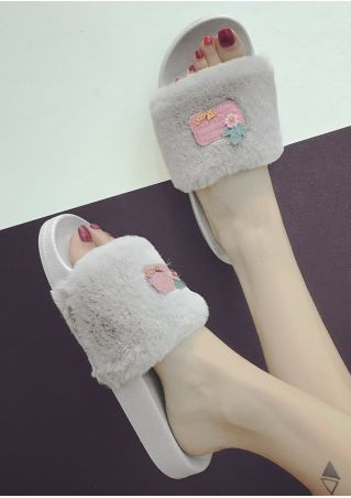 Faux Fur Fluffy Flat Slide Slippers