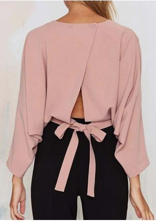 Solid Wrap Tie Long Sleeve Blouse