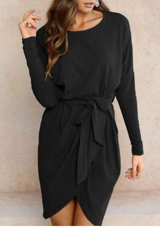 Solid Batwing Sleeve O-Neck Mini Dress