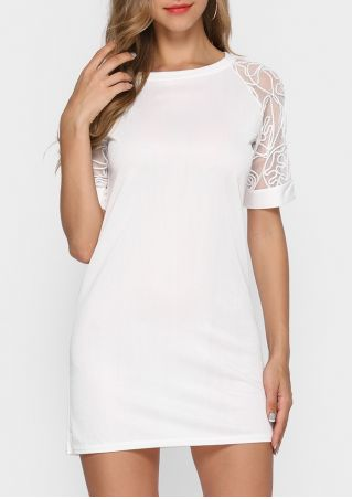 Solid Lace Splicing Mini Dress