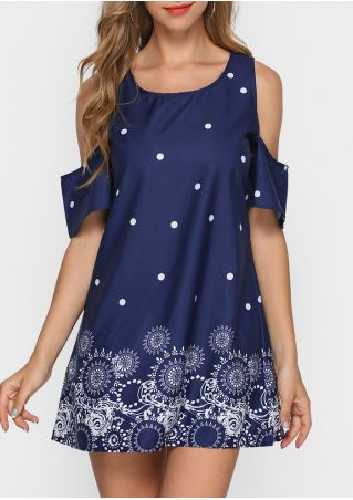 Printed Cold Shoulder Mini Dress