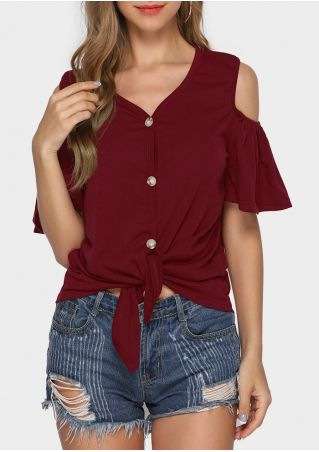 Solid Button Cold Shoulder Tie Blouse