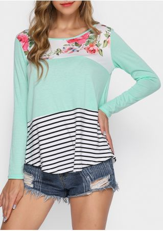 Floral Striped O-Neck Long Sleeve T-Shirt
