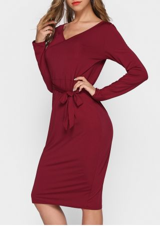 Solid V-Neck Long Sleeve Casual Dress