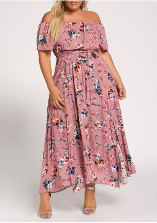 Plus Size Floral Off Shoulder Maxi Dress - Fairyseason
